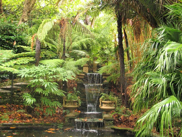 waterfall-palm filled garden Lamorran-Cornwall