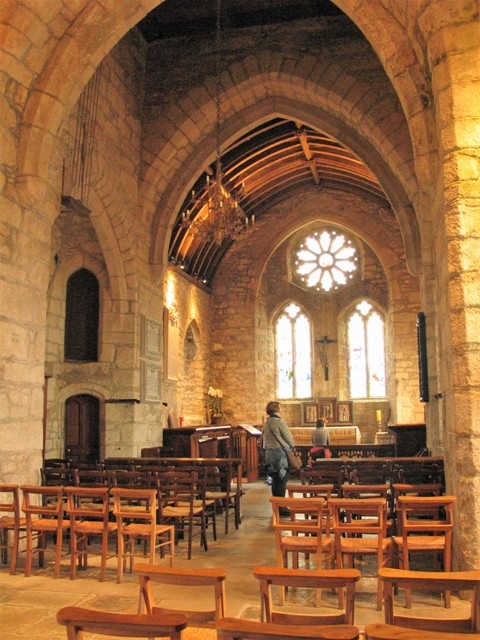 Stone chapel with stained glass windows - St Michael's Mount