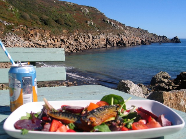 Mackerel salad eaten beside the sea