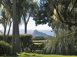 A timeless view in a changing season St Michael' Mount from a garden