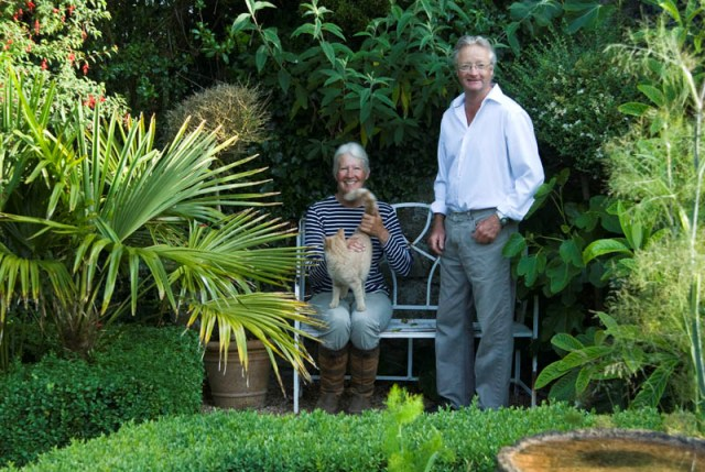 Couple sitting in garden -Christine and Charles Taylor