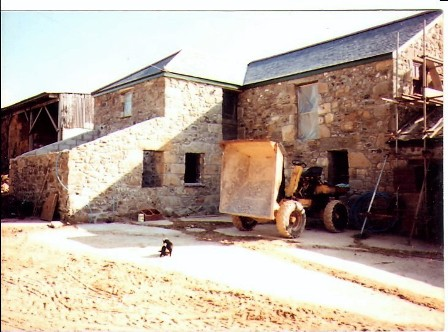 New roof - barn renovation Ednovean Farm with dumper truck