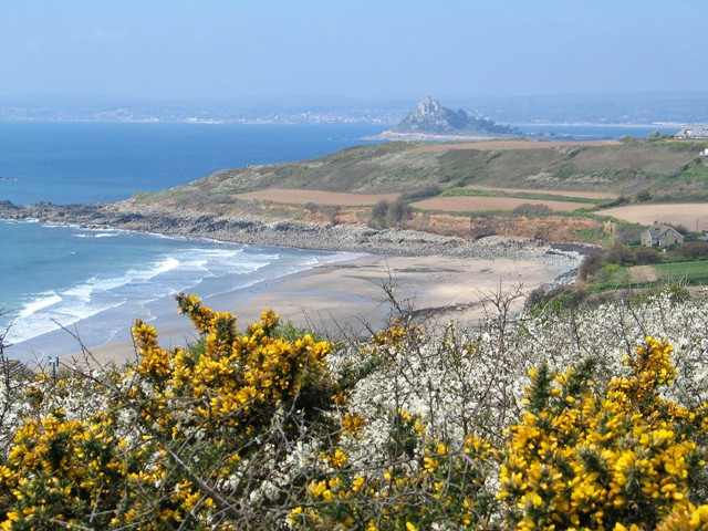 view from coast path to beach - walking