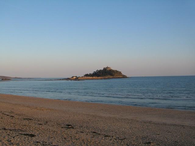 Walking Marazion beach with distant Mount