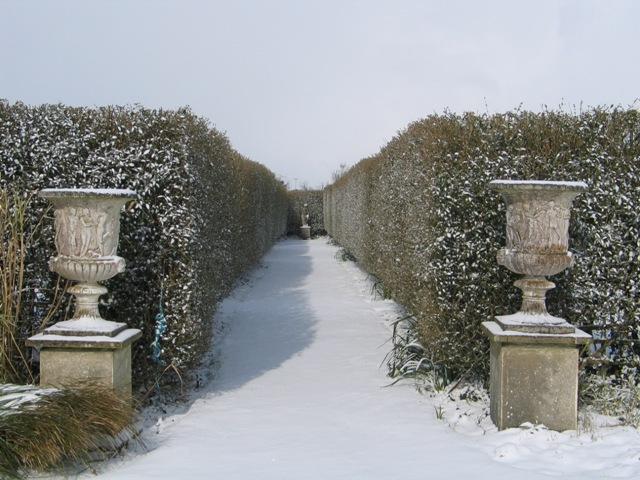 Urns flanking Italian Garden entrance