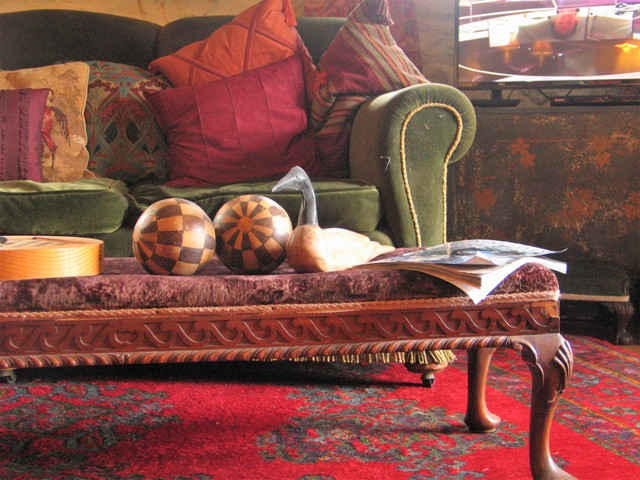 Vintage and antique furniture with silk and tapestry