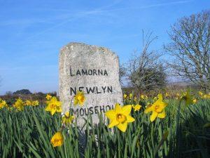 Ancient milestone marked Lamorna, Newlyn, Mousehole
