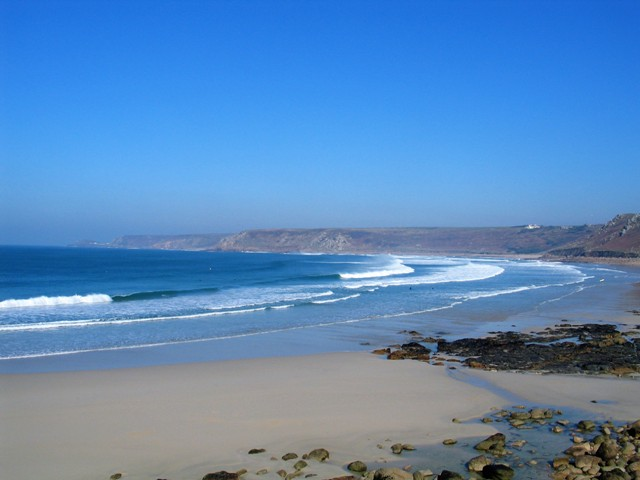 Perfect blue skie and sea - February Sennen beach