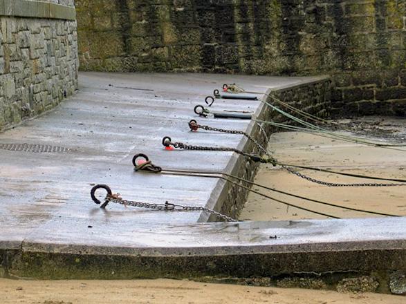 line of boat moorings